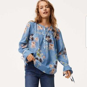 Loft Shimmer Blossom tie cuff blouse